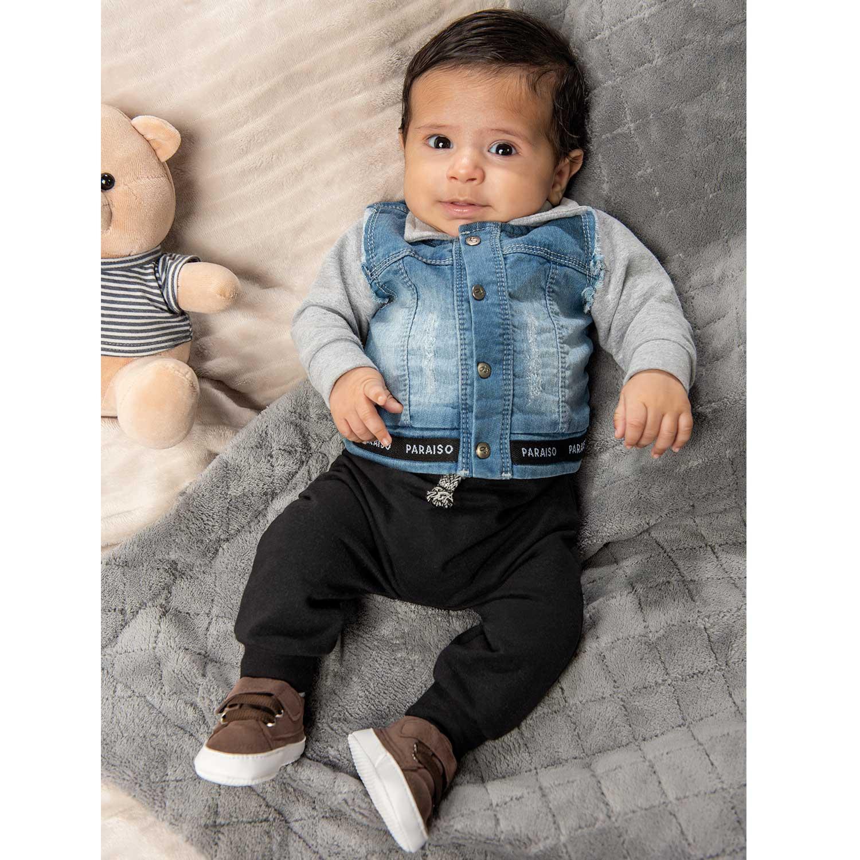 CONJUNTO INFANTIL MANGA LONGA 3 PEÇAS MASCULINO PARAISO REF: 11682 RN/M