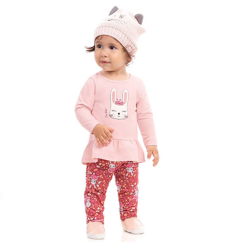 CONJUNTO INFANTIL MANGA LONGA ESTAMPADO FEMININO DILA REF: 015602303 1/3