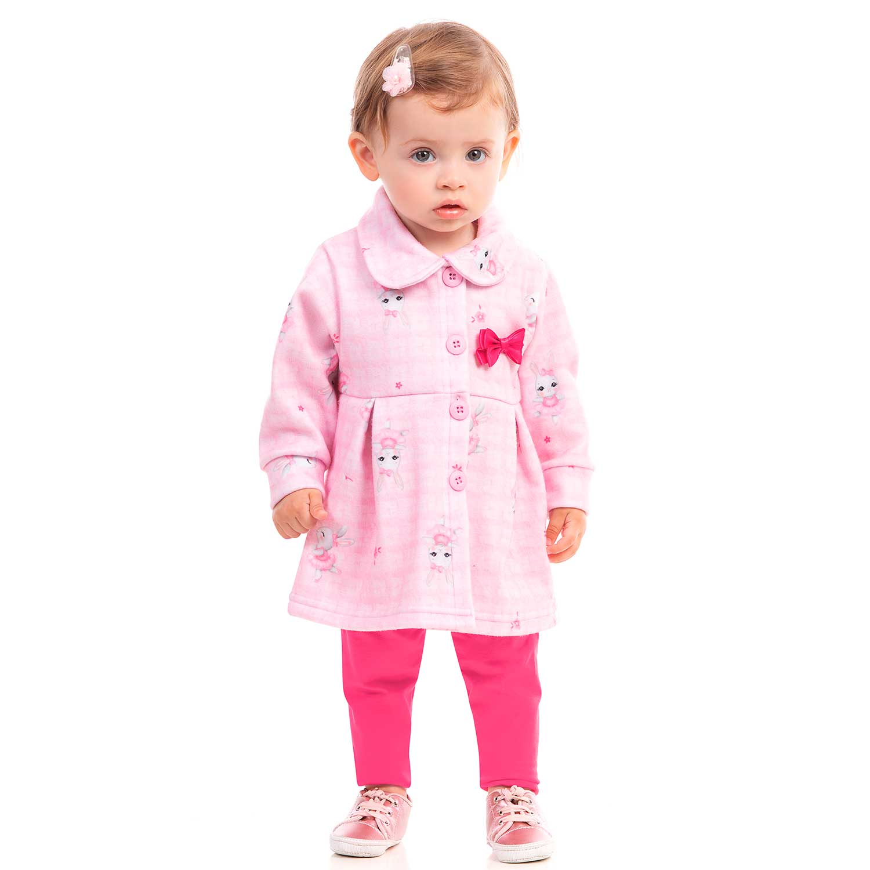 CONJUNTO INFANTIL MANGA LONGA SOFT E CALÇA FEMININO DILA REF: 015602298 P/G