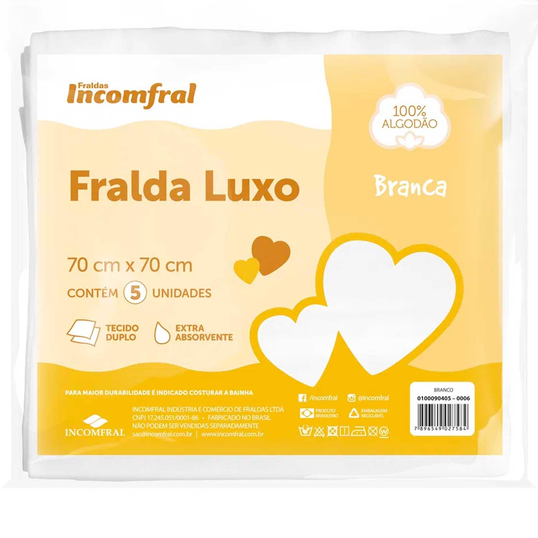 FRALDA INFANTIL ALGODÃO LUXO BERCINHO COM 05 UNIDADES INCOMFRAL REF:0100090405 70X70