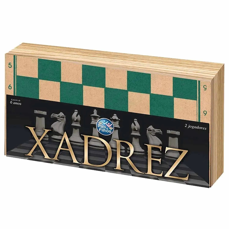 JOGO XADREZ CAIXA MADEIRA 40CM PAIS E FILHOS +6ANOS REF:2828