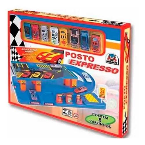 POSTO EXPRESSO COM 8 CARRINHOS BRASKIT REF:7504 3 ANOS +