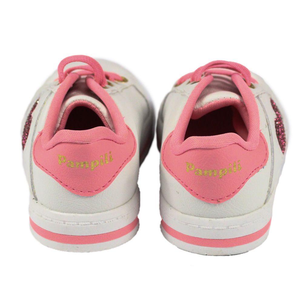 TÊNIS INFANTIL PAMPILI MINI BLOG BRANCO COM CORAÇÃO ROSA CHICLETE REF: 476017 18/24