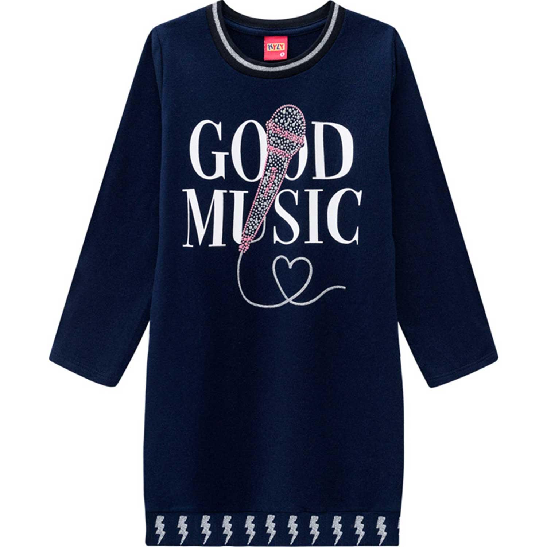 VESTIDO INFANTIL MANGA LONGA MOLETINHO GOOD MUSIC KYLY REF: 207408 10/16