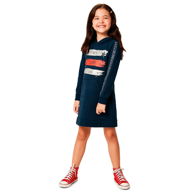 VESTIDO INFANTIL T-DRESS MANGA LONGA POWER SUPER GIRL MOLETINHO FE MALWEE KIDS REF: 1000078252 10/18