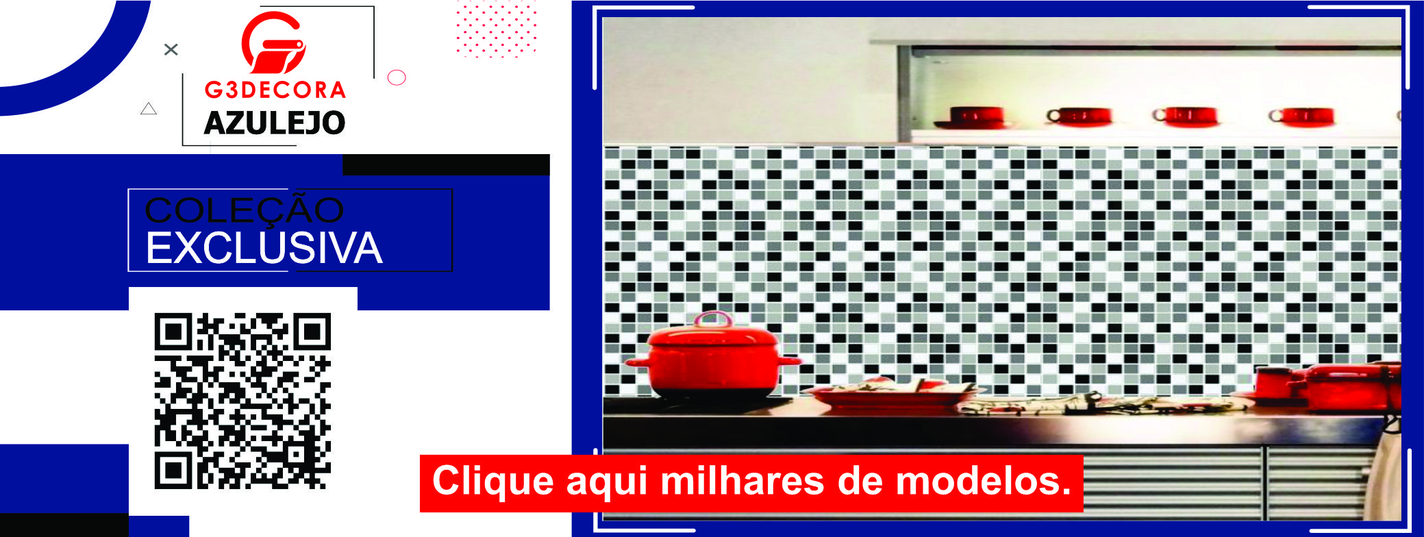 Papel de parede vinílico lavável azulejo