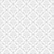 Papel de Parede Arabesco Jacquard Cinza Fino, Contornos Preto sobre Branco  PPA0028