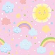 Papel de Parede Arco-Íris E Sol Felizes No Rosa PPI