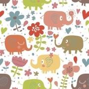 Papel de Parede Autocolante Elefantes Coloridos PPI0116