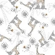 Papel de Parede Autocolante Girafinhas e Passarinhos PPI0113