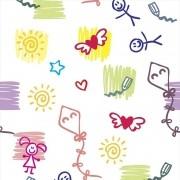 Papel de Parede Desenhos em Tons Diversos com Fundo Branco PPI0065