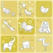 Papel de Parede Infantil Animais Branco com Fundo Amarelo PPI0101