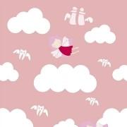Papel de Parede Nuvens Cinza E Rosa PPI0030