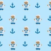 Papel de Parede Ursinho Marinheiro Fundo Azul PPI