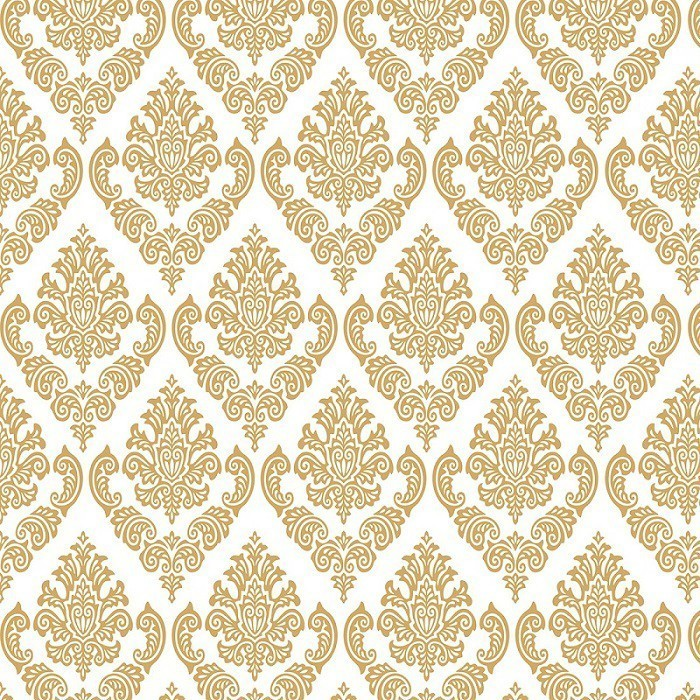 Papel de Parede Arabesco Jacquard Dourado Sobre Branco PPA0024  - Papel de parede - G3decora