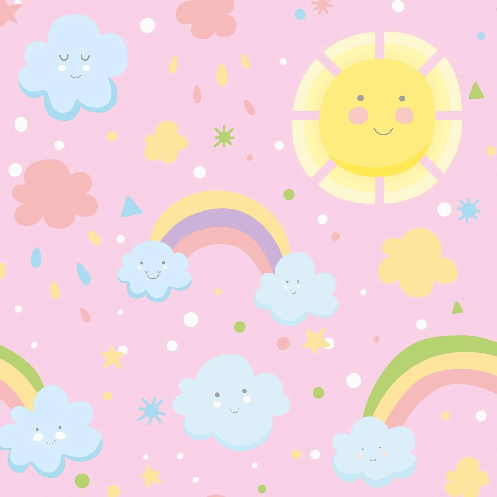 Papel de Parede Arco-Íris E Sol Felizes No Rosa PPI  - Papel de parede - G3decora