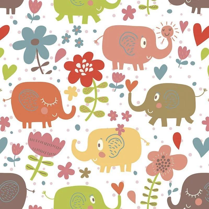 Papel de Parede Autocolante Elefantes Coloridos PPI0116  - Papel de parede - G3decora