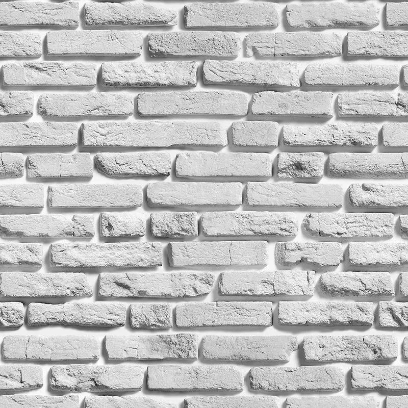 Papel de Parede Autocolante Tijolo Branco Rústico PPT0025  - Papel de parede - G3decora