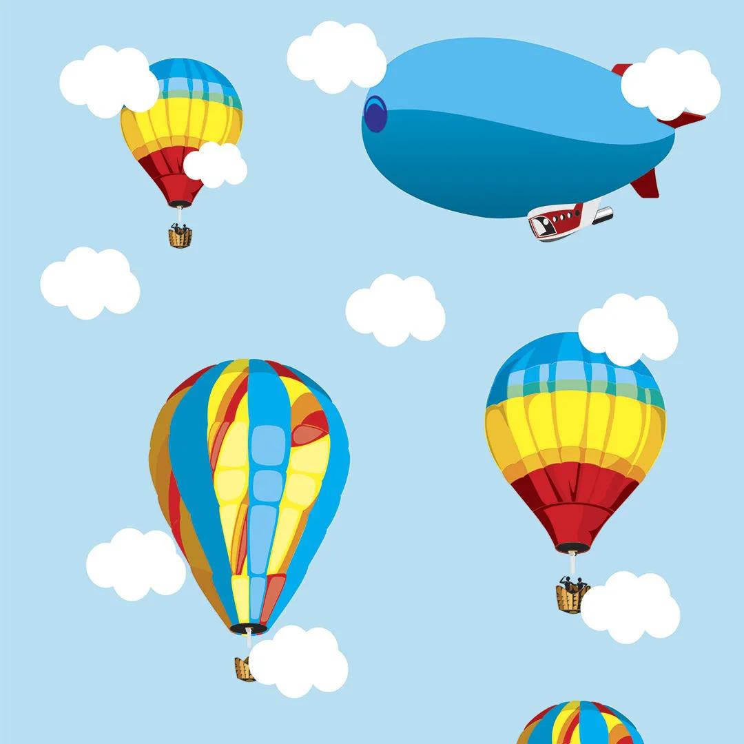 Papel de Parede Balões E Zepelins Coloridos No Céu PPI0021  - Papel de parede - G3decora