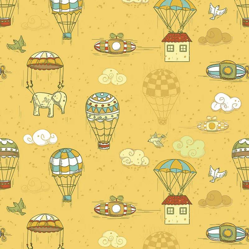 Papel de Parede Conjunto de Objetos Voadores com Balões, Nuvens, Pássaros PPI0010  - Papel de parede - G3decora