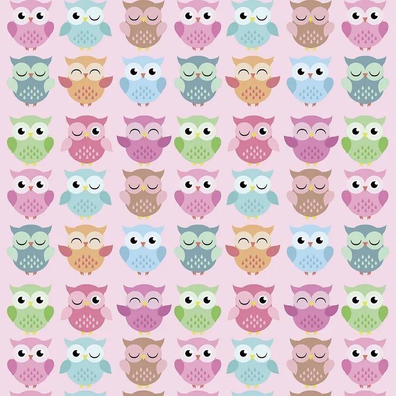 Papel de Parede Corujinhas Engraçadas e Flores Coloridas com Fundo Poá PPI0074  - Papel de parede - G3decora