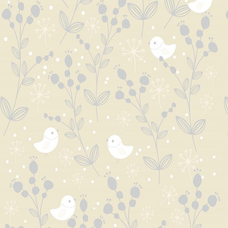 Papel De Parede Delicado Pássaros e Galhos PPI0088  - Papel de parede - G3decora