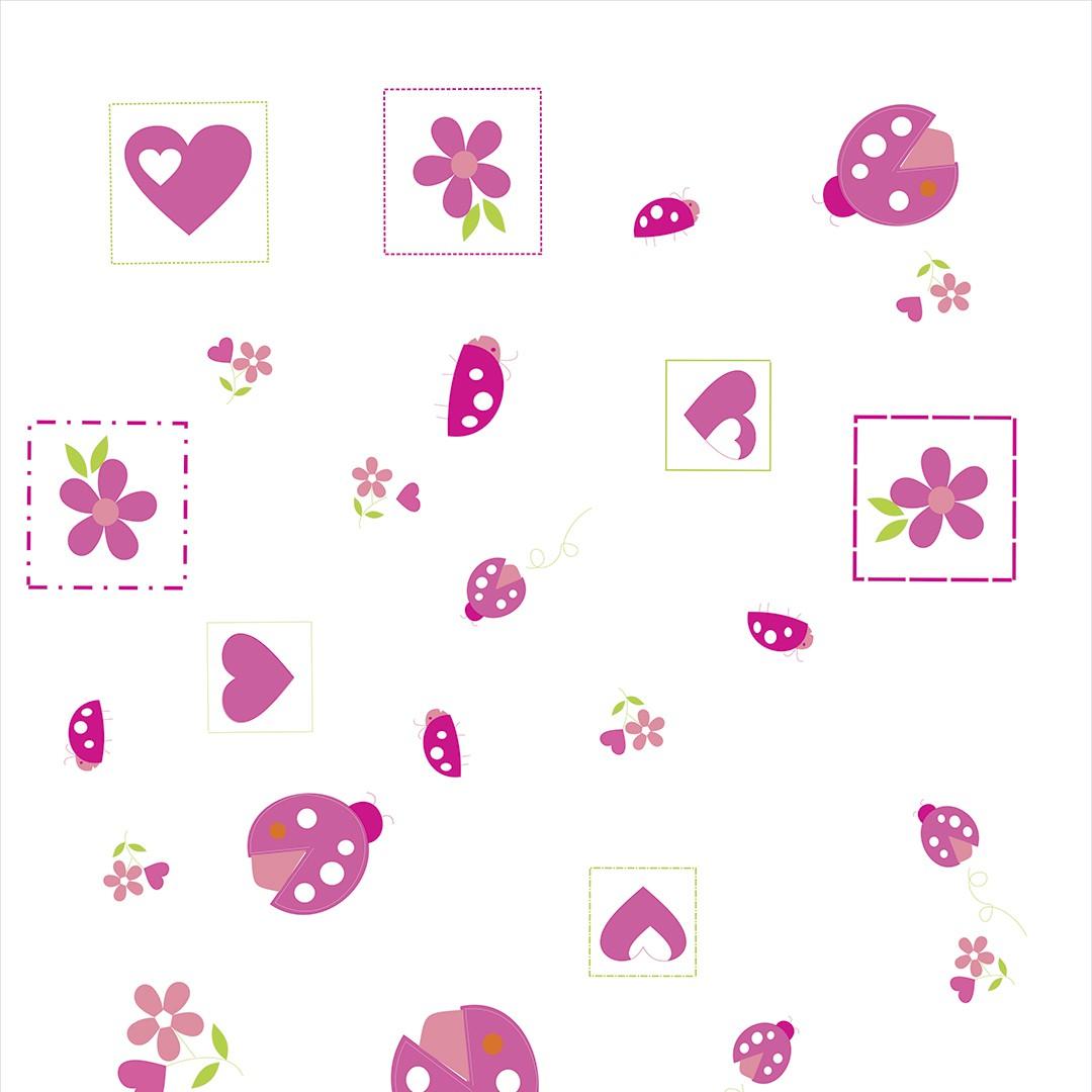 Papel de Parede Desenhos em Tons de Rosa e Violeta Sobre Lilás PPI0034  - Papel de parede - G3decora
