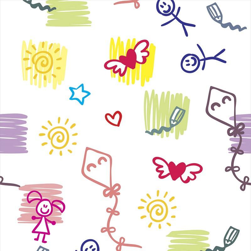 Papel de Parede Desenhos em Tons Diversos com Fundo Branco PPI0065  - Papel de parede - G3decora