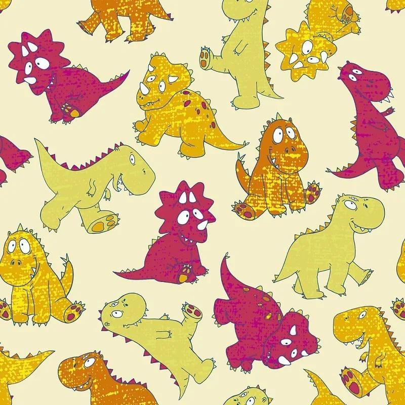 Papel de Parede Dinossauro Desenhados a Mão, Brincalhão e Coloridos PPI0075  - Papel de parede - G3decora