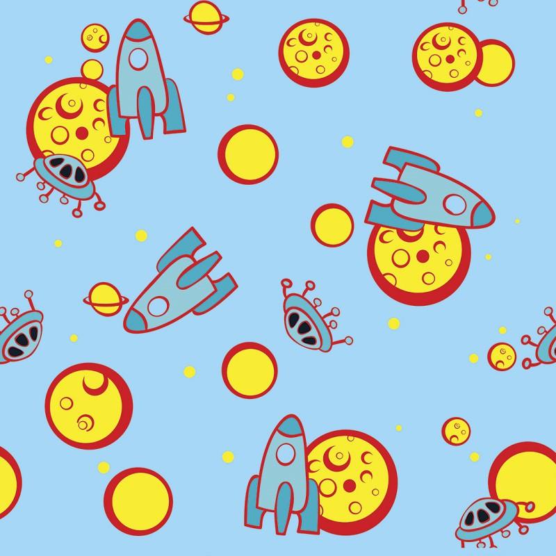 Papel de Parede Espacial em Azul e Amarelo PPI0055  - Papel de parede - G3decora
