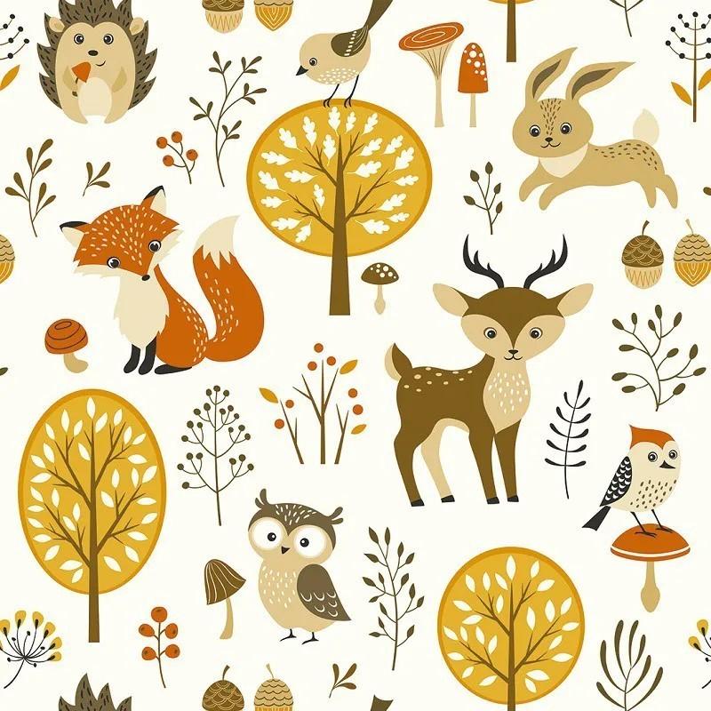 Papel de Parede Floresta do Outono com Animais PPI0076  - Papel de parede - G3decora