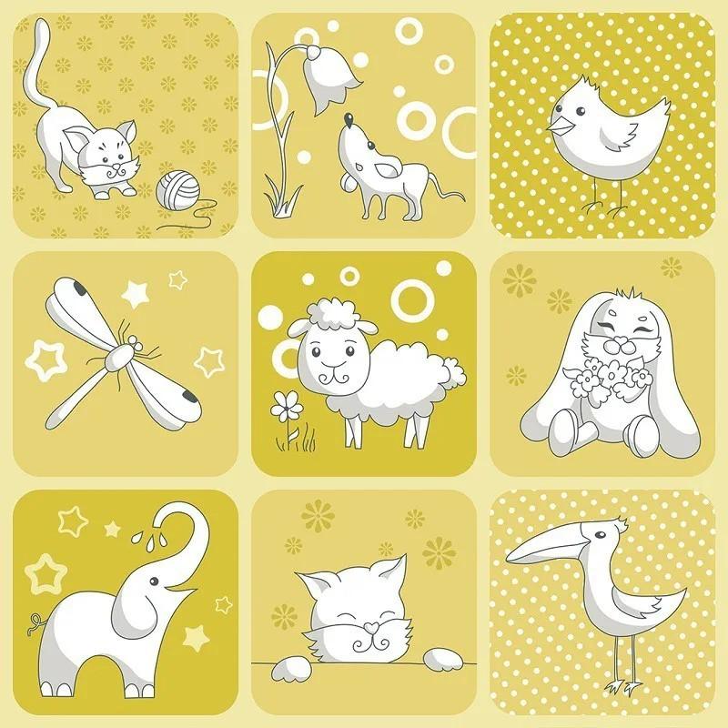 Papel de Parede Infantil Animais Branco com Fundo Amarelo PPI0101  - Papel de parede - G3decora