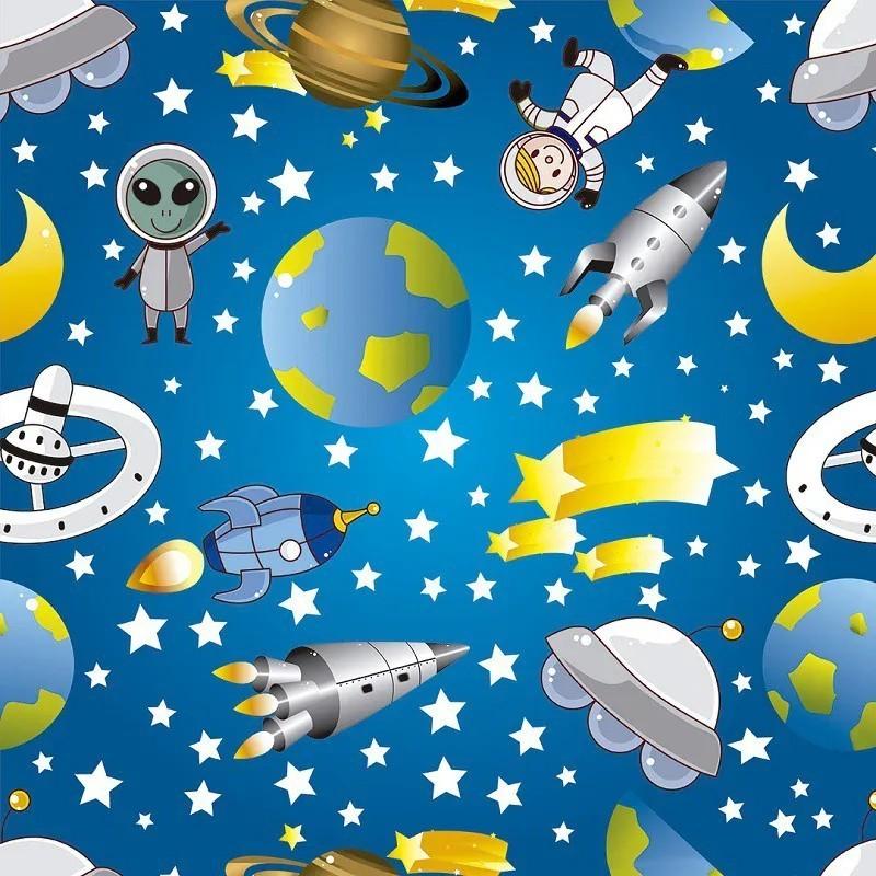 Papel de Parede Infantil Espacial Fundo Azul PPI0078  - Papel de parede - G3decora