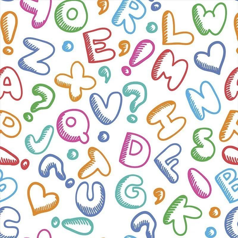 Papel de Parede Infantil Letras Coloridas PPI0084  - Papel de parede - G3decora