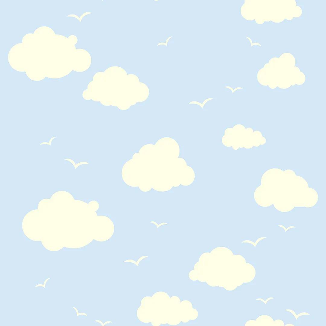 Papel de Parede Infantil Nuvens com Fundo Azul PPI0092  - Papel de parede - G3decora