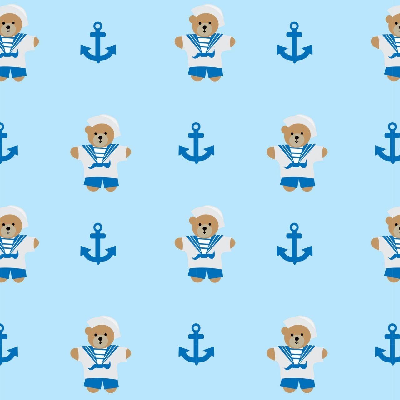 Papel de Parede Ursinho Marinheiro Fundo Azul PPI  - Papel de parede - G3decora