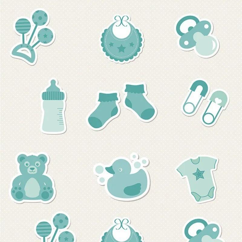 Papel de Parede Utensílios de Bebê Coloridos Sobre Branco PPI0003  - Papel de parede - G3decora