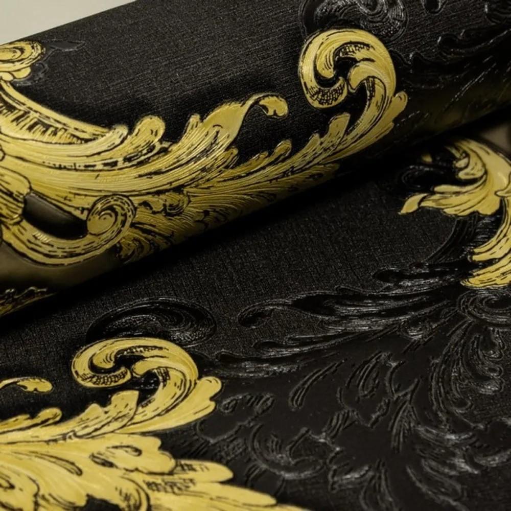 Papel de Parede vinílico Importado  Arabesco Preto e Amarelo
