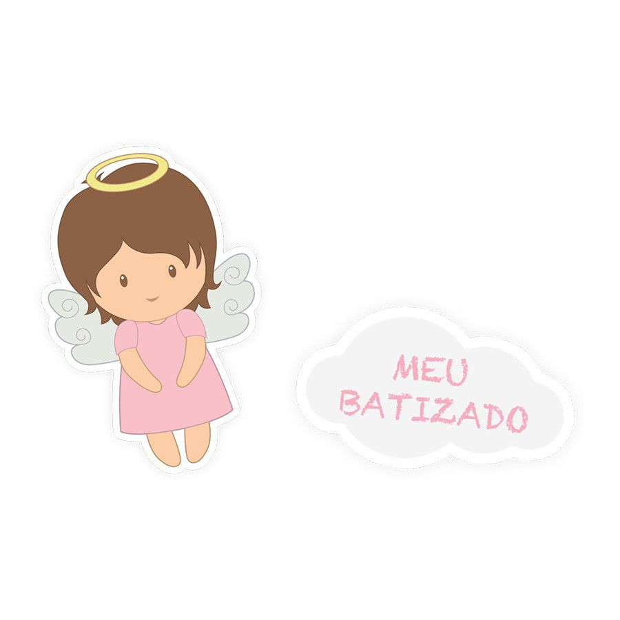 Adesivo Rótulo Batizado Menina - 12 unidades sortidas  - www.doceriamirabella.com.br