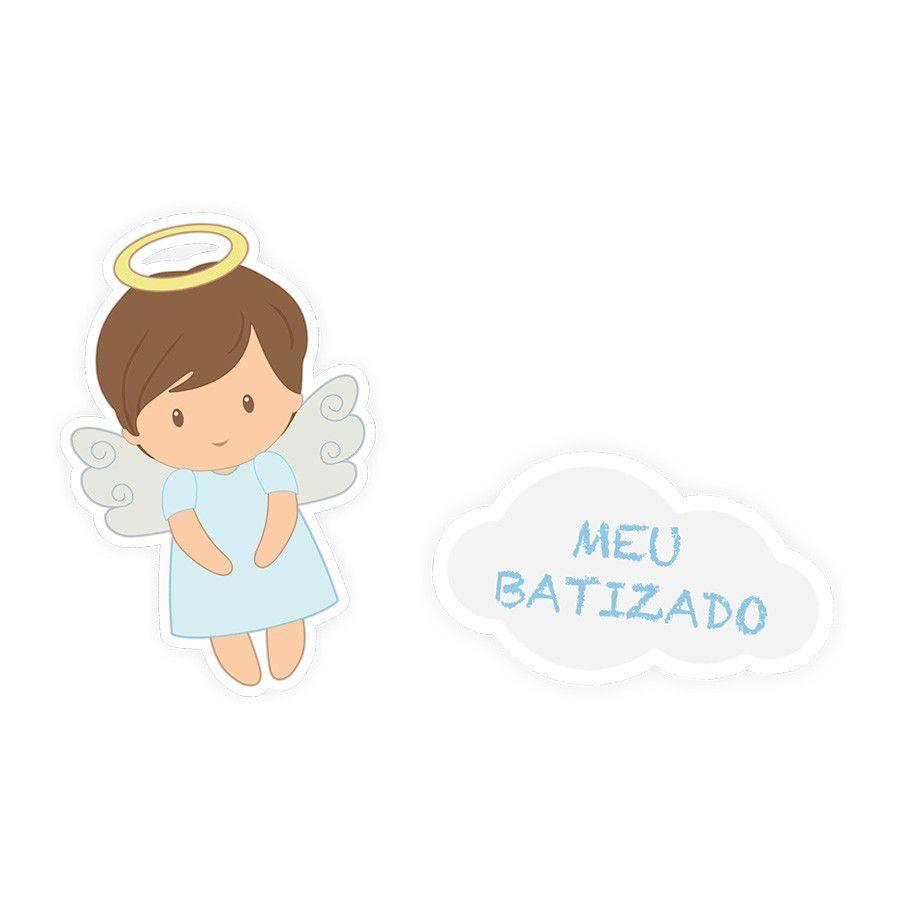 Adesivo Rótulo Batizado Menino - 12 unidades sortidas  - www.doceriamirabella.com.br