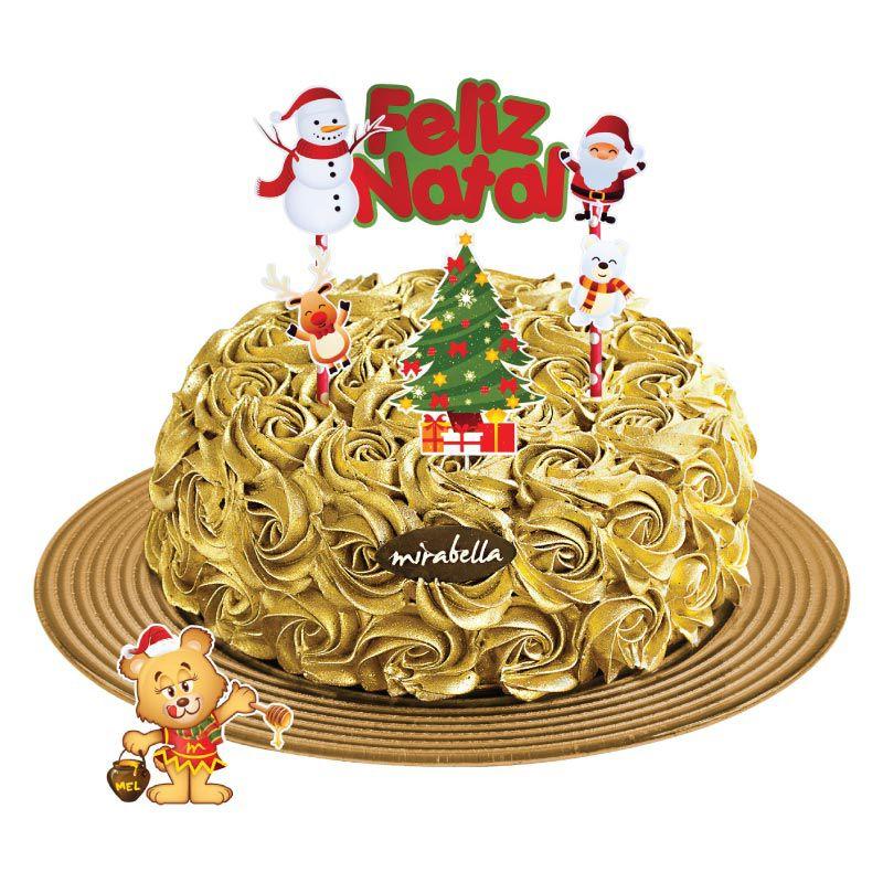 Bolo Dourado Natal  - www.doceriamirabella.com.br
