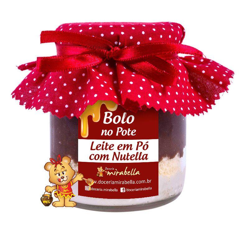 Bolo no Pote de Vidro Leite em Pó com Nutella  - www.doceriamirabella.com.br
