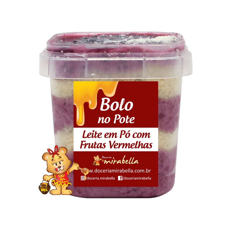 Bolo no Pote - Leite em Pó com Frutas Vermelhas  - www.doceriamirabella.com.br