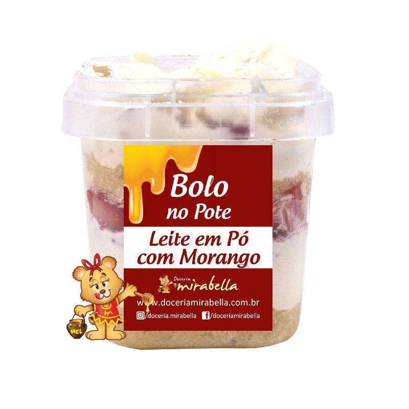 Bolo no Pote - Leite em Pó com Morango  - www.doceriamirabella.com.br