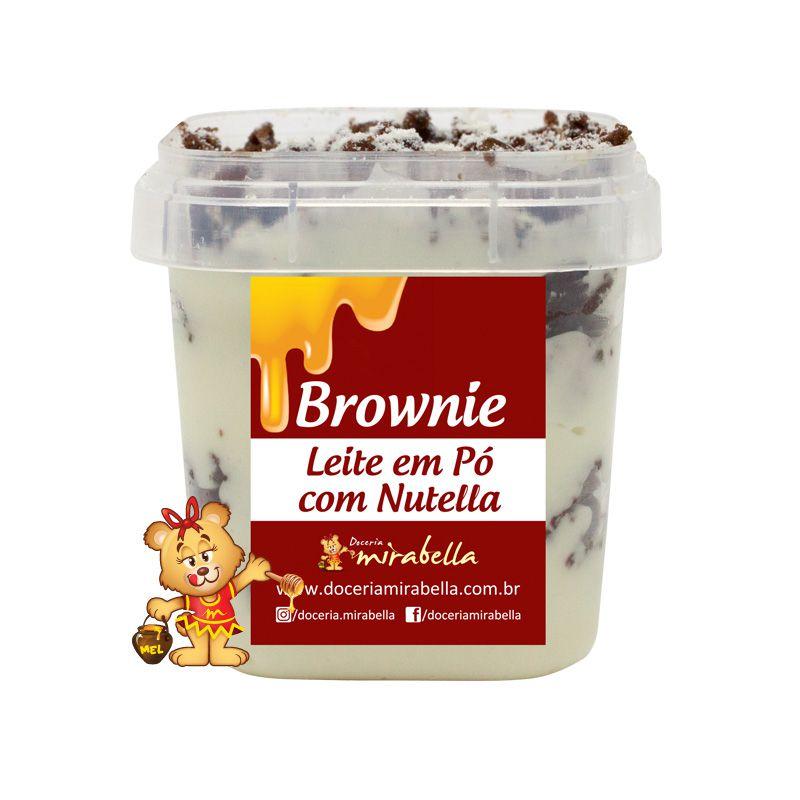 Brownie no Pote - Leite em Pó com Nutella  - www.doceriamirabella.com.br
