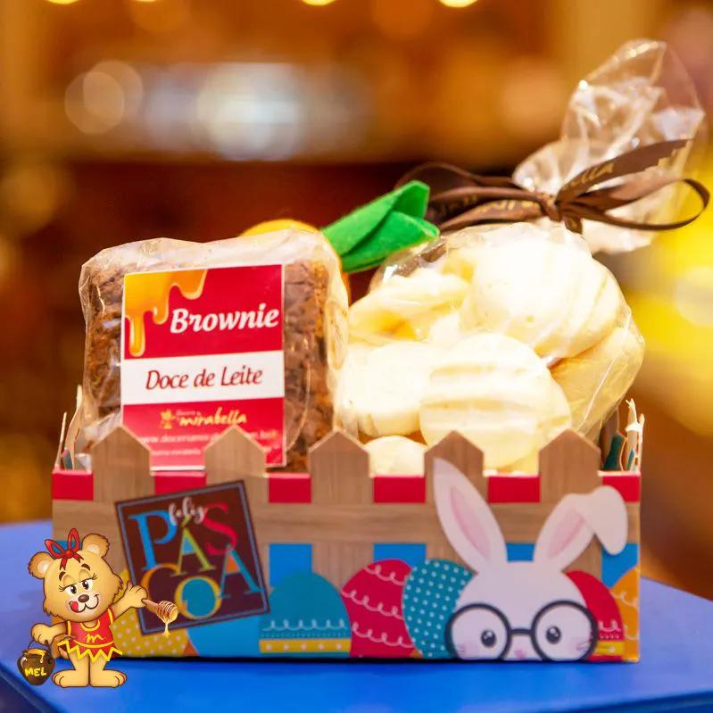 Cesta com Brownie  - www.doceriamirabella.com.br