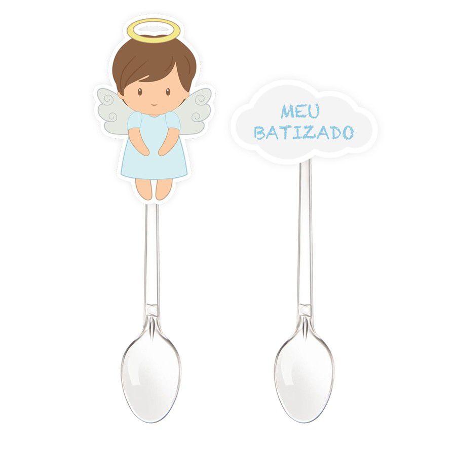 Mini colher para Doces Batizado Menino - 20 unidades sortidas  - www.doceriamirabella.com.br