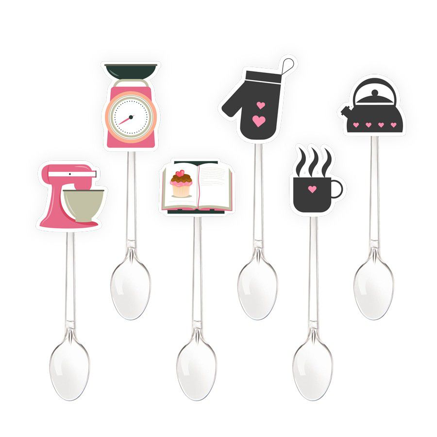 Mini Colher para Doces Chá de Cozinha - 20 unidades sortidas  - www.doceriamirabella.com.br