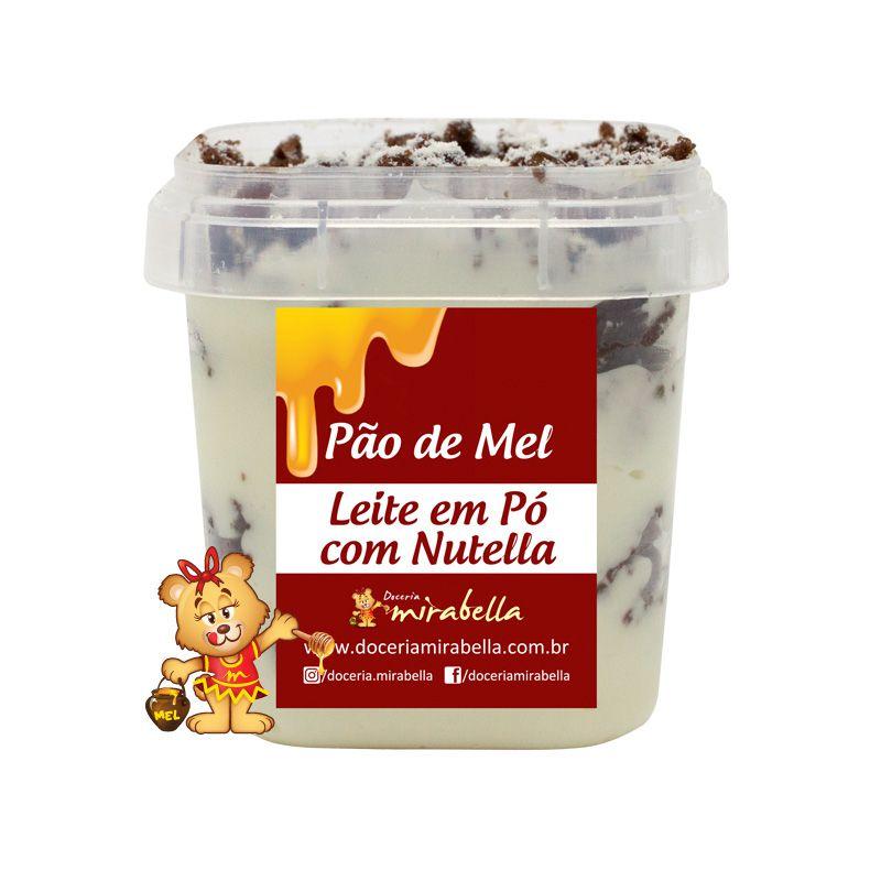 Pão de Mel no Pote - Leite em Pó com Nutella  - www.doceriamirabella.com.br