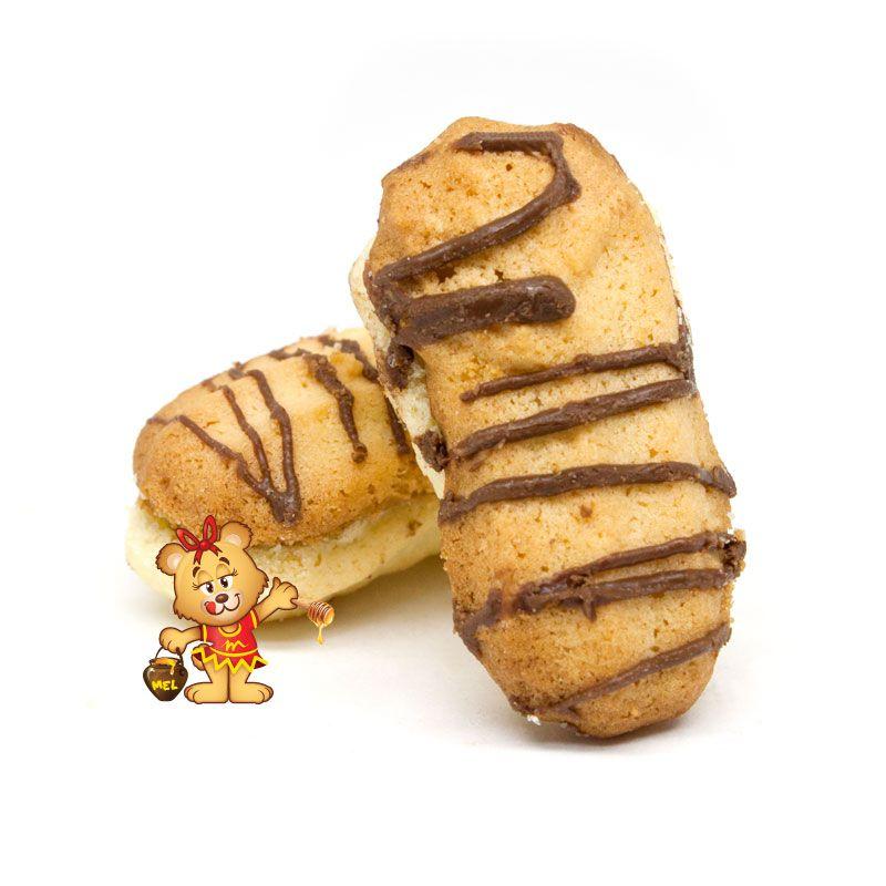 Petit Four Casadinho com Riscos de Chocolate - pedido mínimo 200g  - www.doceriamirabella.com.br